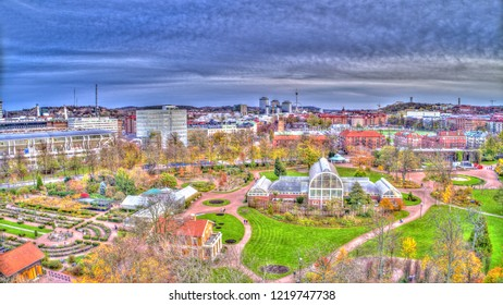 "The park named ""Garden Society of Gothenburg"" in the foreground and Gothenburg cityscape in the background in the autumn."