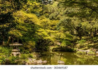 Park at the Naritasan Shinshoji Temple grounds in Narita, japan. Photograph shot on April 17, 2015