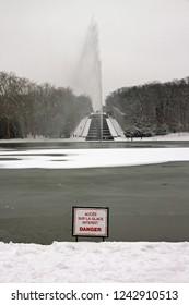 Park near Paris under the snow. Ice Danger (France)