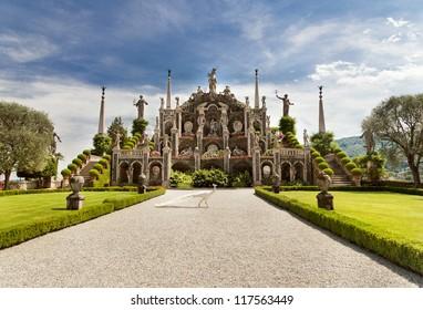 Park on the island of Isola Bella. Lake Maggiore. Italy.