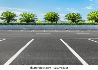 Park, open parking lot and blue sky and white clouds