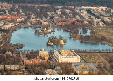 Park and Palace Petergof, St. Petersburg, Russia view from height, April 2019.