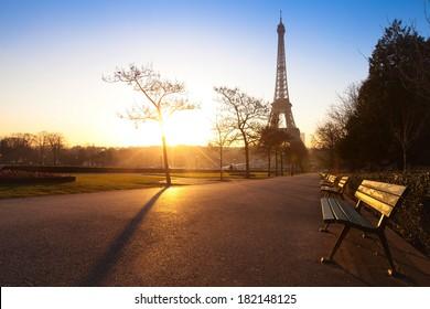 park in Paris near Eiffel tower early morning, France