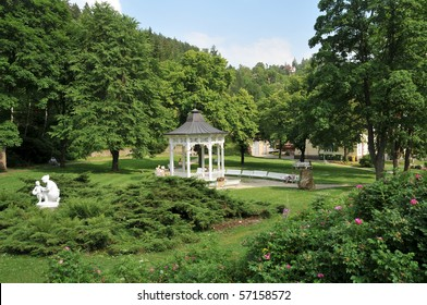 park and pavillon in czech radium spa Jachymov