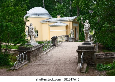 Park Peterhof was created on the model of a regular garden and has retained all the features of their French originals/stone bridge with centaurs in the Park of Peterhof near Saint Petersburg