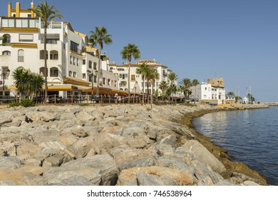 Park Plaza Suites Hotel is in the Puerto Banus yachting harbour of Marbella, in front of the beach in one of the more exclusive places of the Mediterranean on August 31, 2017, Spain.