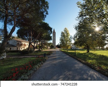 The park of Pomposa Abbey, near Ferrara, Italy.
