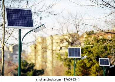 Park public lighting pole with photovoltaic panel