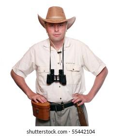 Park ranger with his binoculars.  Studio shot isolated on white background
