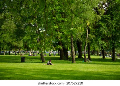 Park and recreation area in the city of Lucerne. Switzerland, Europe.