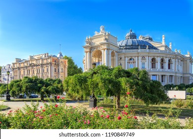 Park with roses near famous opera house of Odessa, Ukraine