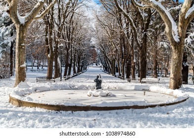 A park of Saint Anthony of Padua in Avila, Spain, on a sunny winter day