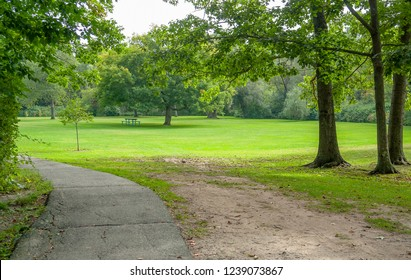 park scenery around Yarmouth in Cumberland County in Maine, USA