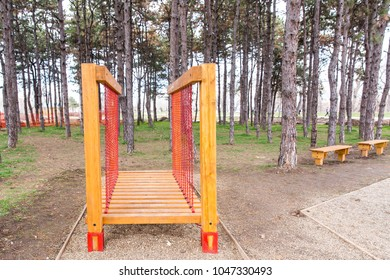Park with set of modern kids playground background