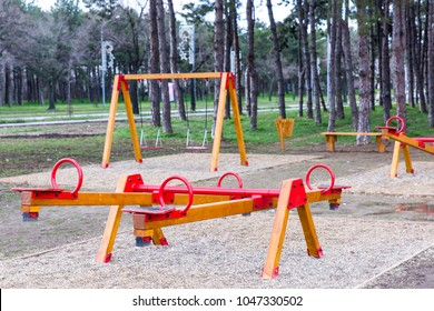 Park with set of modern kids playground background
