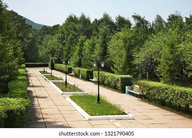 Park of Shakhtar – Miner holiday house Karkaralinsk. Karaganda Oblast. Kazakhstan