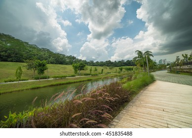 Park side of river, Punggol Waterway Park with bluesky at Singapore, beautiful