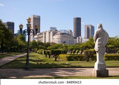 Park and skyline of Rio de Janeiro city center