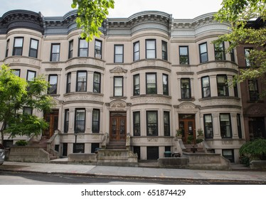 Park Slope, Brooklyn, New York - May 28, 2017: Park Slope brownstone facades & row houses