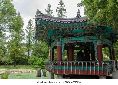Park in the South Korean city of Daegu with nice pond, budhist bell located in park