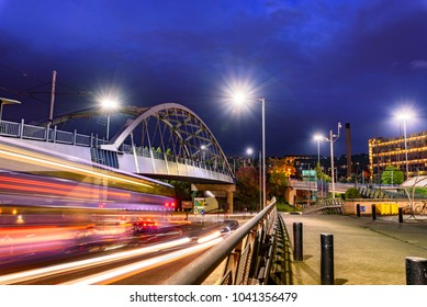 Park Square Bridge, also known as the Supertram Bridge located in Sheffield, England.