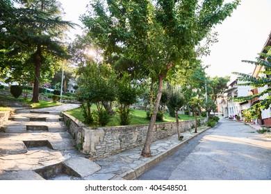 Park Street on the island Heybeliada in Turkey. summer sunny