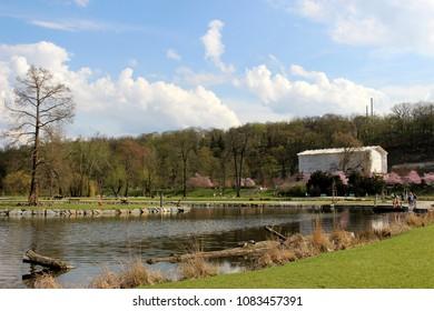 park stromovka in prague in spring