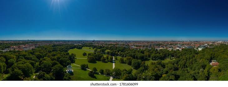 Park view over Munich - The popular Englischer Garten from a high angle view. - Shutterstock ID 1781606099