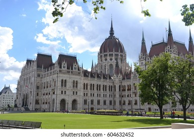 Park view of the parliament of Budapest, Hungary