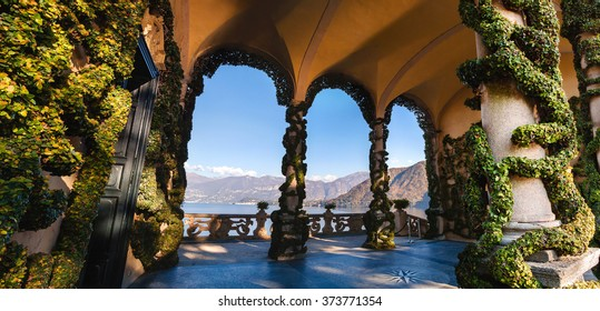 The park of Villa Balbianello in Lenno, Lake Como, Italy