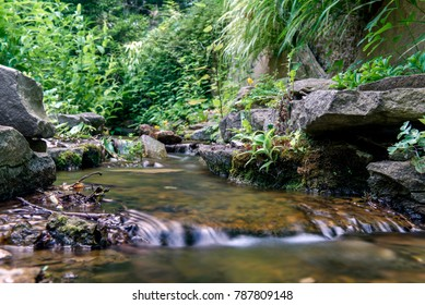 Park Waterfall and Pond Background