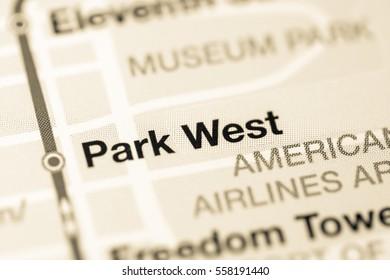 Park West Station. Miami Metro map.