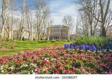 Park Zrinjevac and Croatian academy of science and arts in Zagreb, in spring