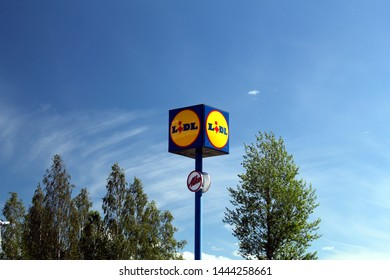 Parkano, Finland - July 3 2019:  Sign of Lidl supermarket. Lidl is a German supermarket chain with over 10,000 stores across Europe.