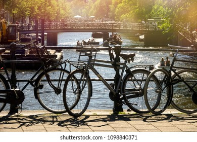 parked bicycles in the beautiful city of Amsterdam, Holland.