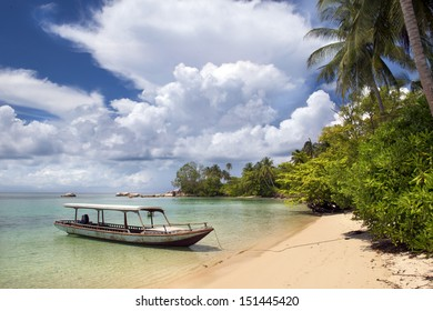 Parked boat in Belitung island, Indonesia