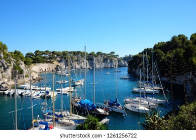 Parked boats in Calanque de Port Miou in Calanques National Park, between Marseille and Cassis, Provence, France.