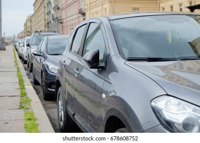 parked cars in a European city