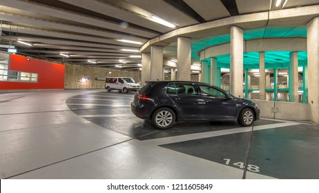 parked cars in Modern Underground circular parking garage