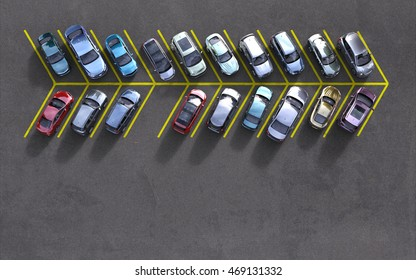 parked cars with one spot free, 3D illustration
