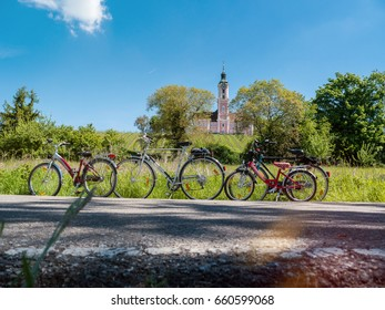 Parked Family Bikes in front of Birnau Basilica at Lake Constance, Germany