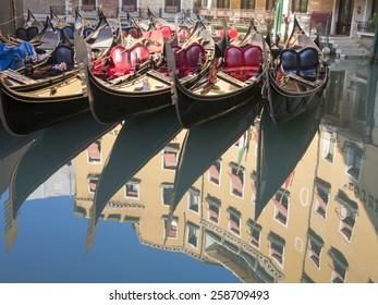 Parked gondolas, Bacino Orseolo around Piazza San Marco, Venice, Italy