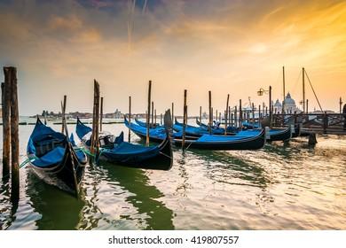 Parked gondolas in St Mark's square, Venice