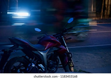 A parked motorbike with motion blur background unique photo