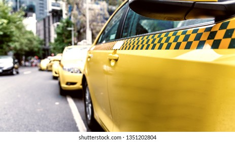 Parked taxi in Melbourne street, Australia.