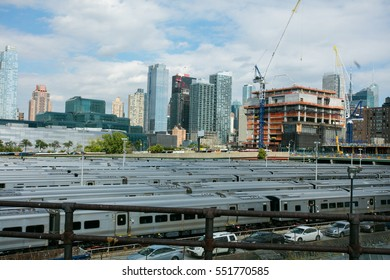 parked trains somewhere in a station in New York