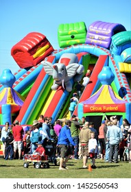 Parker, CO, USA. July 13, 2018. Playground slide at the Parker Days annual festival was very popular with kids.