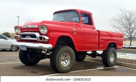 PARKER, COLORADO - APRIL 13, 2019: 1959 GMC 100 Pickup