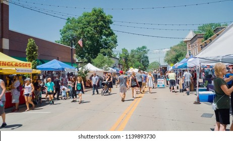 Parker, Colorado, USA-June 9, 2018 -  Main street with vendors at the local canival.
