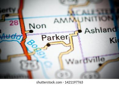 Parker. Oklahoma. USA on a map